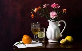 Picture flowers, glass, the dark background, glass, pitcher, still life, items, lemons, Mandarin, clove