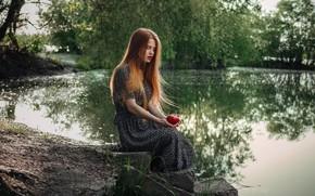 Picture summer, girl, nature, pose, river, mood, model, Apple, Danil Prokopenko