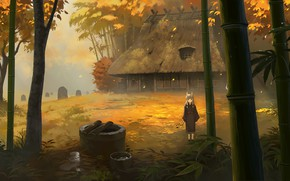 Picture autumn, house, child, horns, youkai