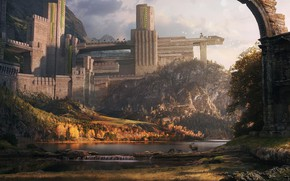 Picture deer, ancient temple, Dylan Pierpont, Ancient Walled Temple