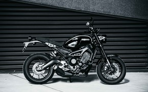 Picture motorcycle, is, Yamaha, black, moto, Yamaha XSR900, city bike