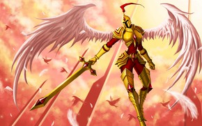 Picture angel, sword, armor, knight