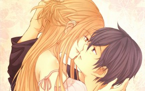 Picture look, kiss, anime, art, guy, Red, Brunette, Sword art online, Sword Art Online, Asuna, Kirito