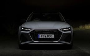 Picture night, Audi, front view, universal, RS 6, 2020, 2019, V8 Twin-Turbo, RS6 Avant, UK-version