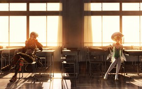 Picture girl, anime, art, class, guy, two, hack//SIGN, party