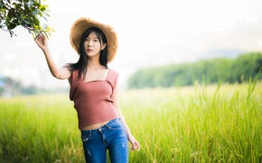 Picture girl, pose, hat, Asian, bokeh