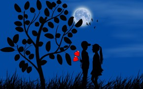 Picture the moon, romance, boy, girl, hearts, silhouettes, date, first love