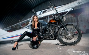 Picture chest, girl, face, pose, hangar, photographer, motorcycle, helmet, girl, bike, sexy, the plane, jumpsuit, bike, …