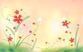 Picture flowers, Wallpaper, vector, petals, postcard