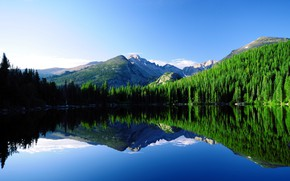 Picture Reflection, Mountains, Lake, The slopes