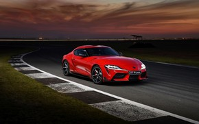 Picture red, coupe, track, the evening, Toyota, Supra, the fifth generation, mk5, double, 2019, GR Above, …