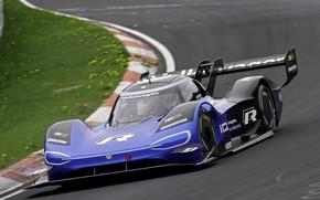Picture blue, turn, Volkswagen, prototype, prototype, The Nürburgring, Nordschleife, 2019, I.D. R