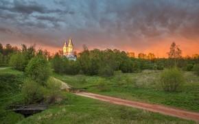 Picture road, landscape, sunset, nature, village, the evening, Alex Sannikov, Смольнево