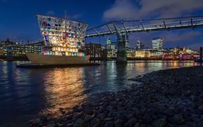 Picture night, bridge, the city, river, stones, shore, ship, England, London, building, home, lighting, sail, Thames, …