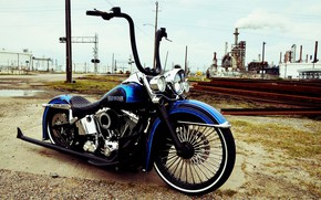 Picture Harley Davidson, Custom, Motorcycle, Bllue