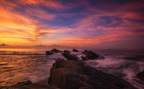 Picture sea, wave, the sky, the sun, clouds, sunset, bright, stones, rocks, shore, color, the evening, …