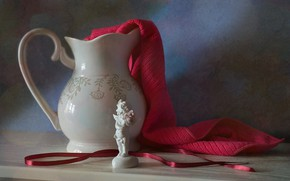 Picture angel, tape, dishes, figurine, still life, the milkman