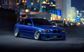 Picture night, the city, lights, BMW, blue, bokeh, E46, 3-Series