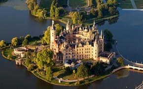 Picture river, castle, Germany, Schwerin, Schwerin