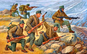 Picture Mountains, Stones, MG-34, Soldiers, Stick hand grenade 24, Edelweiss