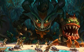Picture forest, beach, tropics, palm trees, people, monster, being, jungle, the natives, League Of Legends, Maokai, …