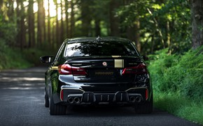 Picture road, forest, BMW, back, sedan, 2018, Biturbo, BMW M5, Manhart, M5, V8, F90, 4.4 L., …