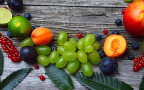 Picture currants, peach, Grapes, Fruit, berries