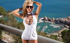 Picture sea, girl, white, dress, tattoo, glasses, blonde, girl, white, Beautiful, Laguna, dress, sea, tattoo, Beautiful, …