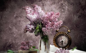 Picture watch, bouquet, book, lilac