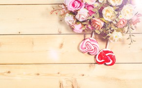 Picture flowers, candy, hearts