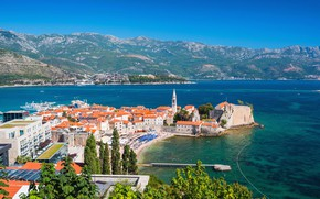 Picture sea, mountains, home, Montenegro, Budva