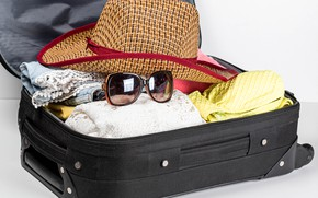 Picture stay, clothing, hat, glasses, suitcase