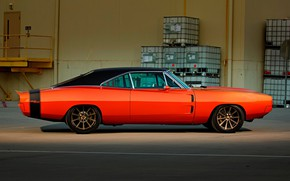 Picture Muscle, Orange, Coupe, 1970, Dodge Charger