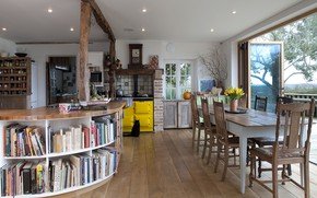 Picture interior, kitchen, library, dining room