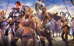 Picture girl, fantasy, game, armor, Lineage, ponytail, man, braid, artist, elf, ship, digital art, artwork, warrior, …