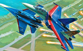 Picture art, Russia, weatherproof, Su-27UB, Russian Knights, the fourth generation fighter, Soviet/Russian, Videoconferencing Russia, aviation group …