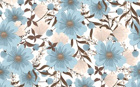 Picture flowers, background, texture, blue