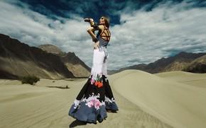 Picture girl, desert, model, fashion