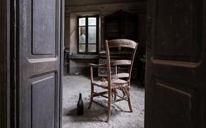 Picture bottle, the door, window, chair