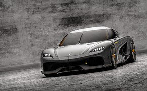 Picture metal, supercar, grey, stone, asphalt, koenigsegg, shine, 2020, gemera