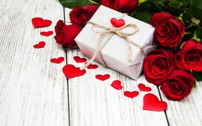 Picture gift box, red, gift, red, hearts, hearts, love, roses, romantic, valentine's day, roses, love