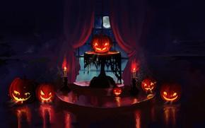 Picture holidays, halloween, night, art, candles, pumpkin