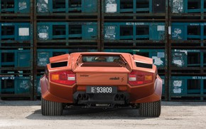 Picture Orange, Supercar, Lamborghini Countach, Back, 1974