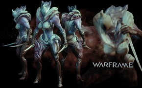 Picture being, soldiers, cyborg, black background, character, Warframe, view from different sides