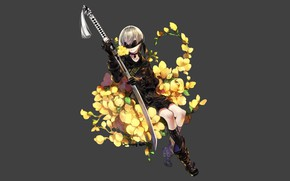 Picture flowers, sword, boots, boy, eye patch, Nier Automata, YoRHa No 9 Type S