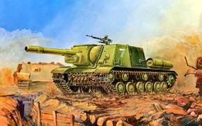Picture SAU, The red army, ISU-152, Soviet, Heavy, The trench, 152 mm howitzer-gun ML-20