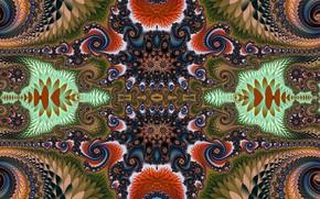 Wallpaper pattern, bright, Khokhloma