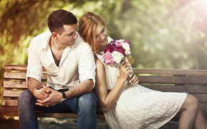 Picture look, girl, happiness, bench, bouquet, male, lovers