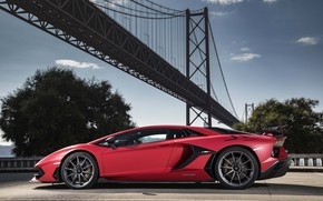 Picture bridge, Lamborghini, supercar, side view, 2018, Aventador, Lisbon, SVJ, Aventador SVJ