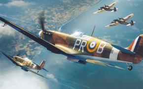 Picture fighter, UK, Supermarine Spitfire, Raf, Spitfire Mk.IIa, Adam Tooby